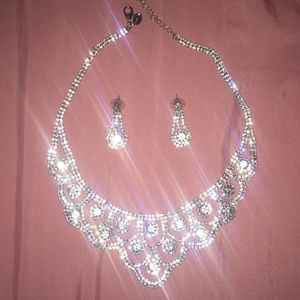 Jewelry - gorgeous faux diamond necklace and earrings
